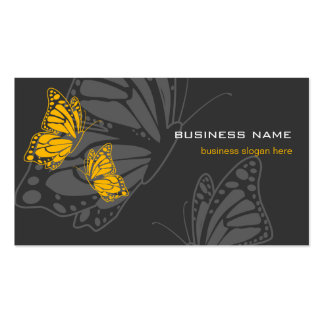 Butterfly Yellow & Dark Elegant Modern Double-Sided Standard Business Cards (Pack Of 100)