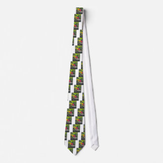 Butterfly Yellow Flower Pink Neck Tie