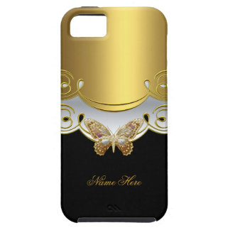 Butterfly Yellow Gold Black iPhone SE/5/5s Case
