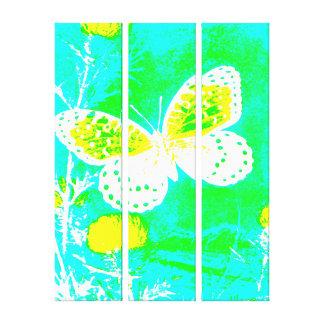 Butterfly - YELLOW, GREEN, AQUA BLUE Canvas Print