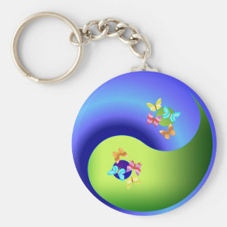 Butterfly Yin Yang Basic Round Button Keychain