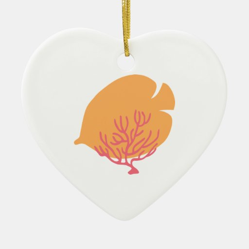 Butterflyfish y coral del oro adorno de navidad