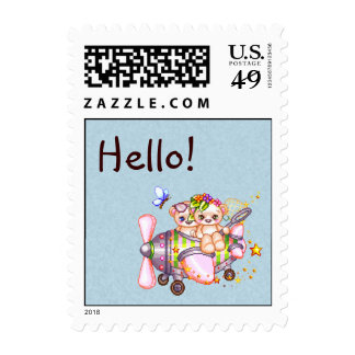 Butterflying Bears Pixel Art Postage Stamps