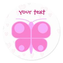 butterflypink classic round sticker