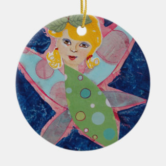 Butterfy Fairy Nymph Collage Art Painting Christmas Ornaments