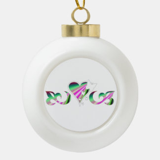 Butterfy Lily and Heart Ceramic Ball Christmas Ornament