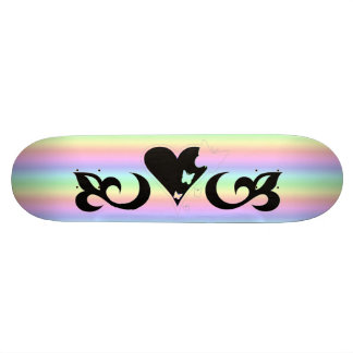 Butterfy Lily and Heart Skateboard Deck