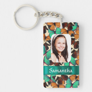 Butterly collage photo template Double-Sided rectangular acrylic keychain