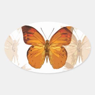 Butterly Oval Sticker