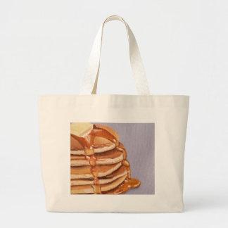 Buttermilk Pancakes Shortstack Breakfast Painting Large Tote Bag