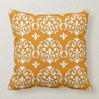 Butternut orange and White Damask Pattern Throw Pillow