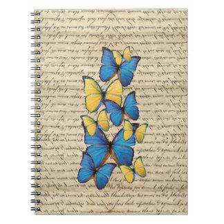 Butterrflies azules y amarillos libro de apuntes