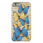 Butterrflies azules y amarillos funda de iPhone 6 barely there