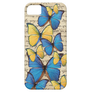 Butterrflies azules y amarillos funda para iPhone 5 barely there