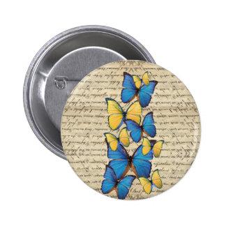 Butterrflies azules y amarillos pin redondo de 2 pulgadas