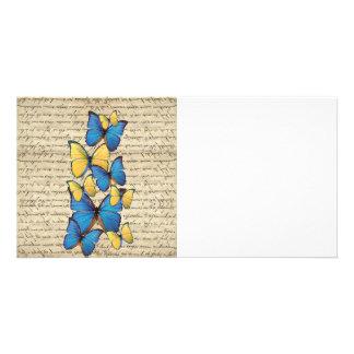 Butterrflies azules y amarillos tarjetas personales con fotos