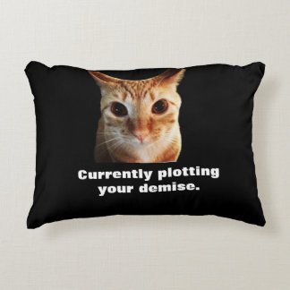 Butters Plots Black & Pink Funny Cat Pillow