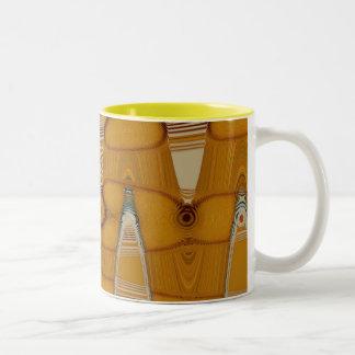 butterscotch abstract Two-Tone coffee mug