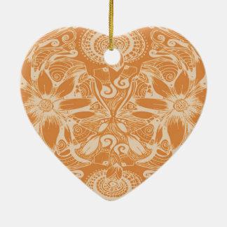 Butterscotch Cosmic Flower Explosion Ceramic Ornament