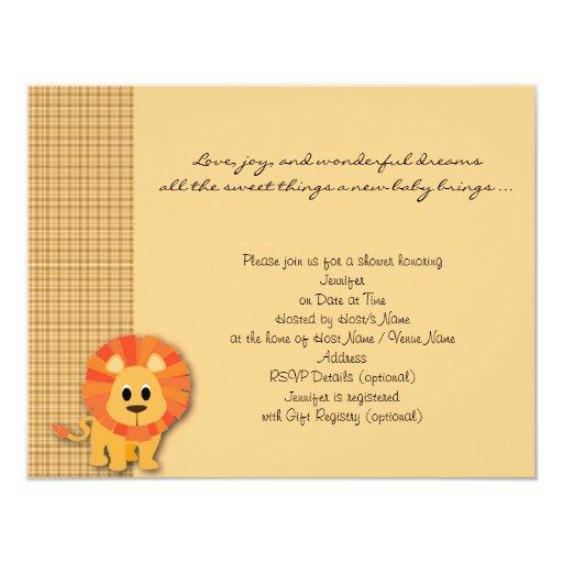 Butterscotch Lion Plaid Baby Shower Invitation
