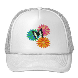 Buttery Fly and Flowers Cap for Ladies Trucker Hat
