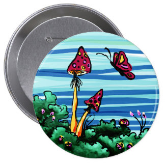 Button, 2 Red Mushrooms Pinback Button