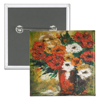 Button Ann Hayes Painting Red Flowers Mixed