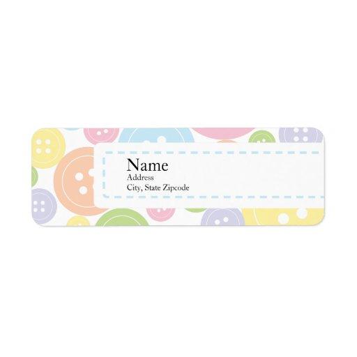 Button Baby Shower Return Address Label   Boy