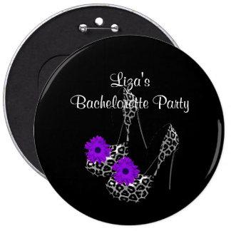 Button Bachelorette Party Purple leopard Shoe
