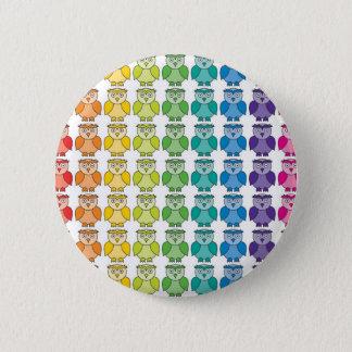 Button Badge - Cute Rainbow Owl Pattern