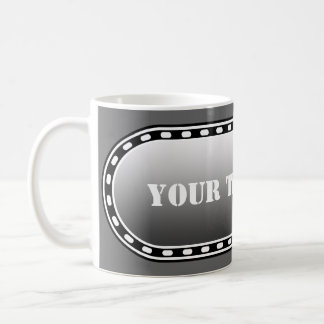 BUTTON BANNER black grey gradient + your text Mugs