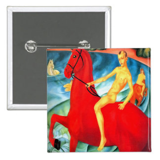 """Button: """"Bathing the Red Horse"""" Pinback Button"""