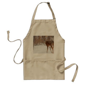 Button Buck Deer in Winter White Snowy Field Adult Apron