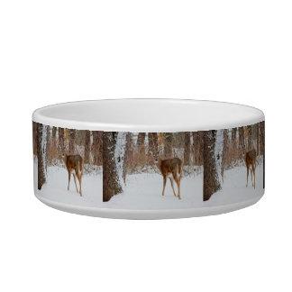 Button Buck Deer in Winter White Snowy Field Bowl
