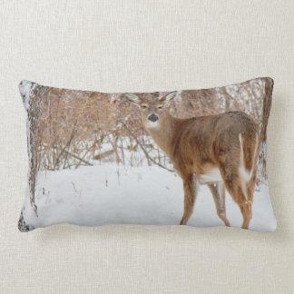 Button Buck Deer in Winter White Snowy Field Lumbar Pillow
