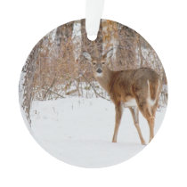 Button Buck Deer in Winter White Snowy Field Ornament