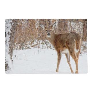 Button Buck Deer in Winter White Snowy Field Placemat