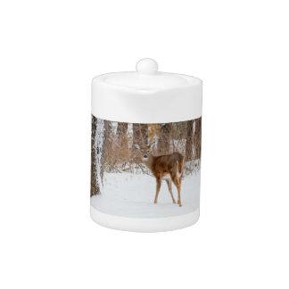 Button Buck Deer in Winter White Snowy Field Teapot