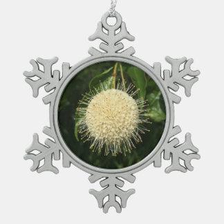 Button Bush Flower in Snow Flake Snowflake Pewter Christmas Ornament