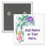 """Button: """"Cheshire Cat"""" from """"Alice in Wonderland"""" 2 Inch Square Button"""