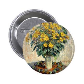 Button, Claude Monet Jerusalem Artichoke Flowers Pinback Button