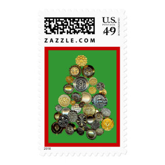 Button Collectors Christmas  Postage Stamp