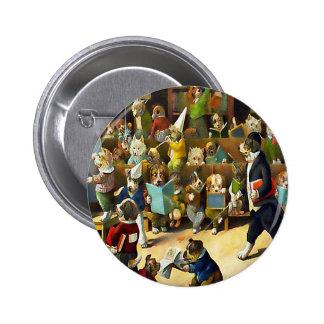 Button: Dog School by Louis Wain