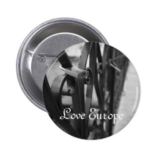 Button: European Bridge and Love Lock. Love Europe Pinback Button
