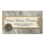 Button Fabric Flower on Burlap & Rustic Wood Business Card