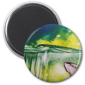 Button Floral Encaustic Magnet