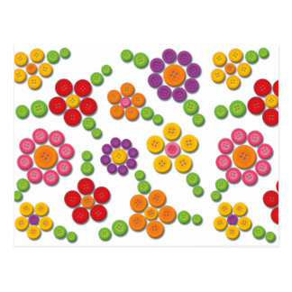Button Flower Pattern Post Card