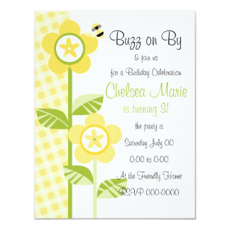 Button Flowers and Gingham Card