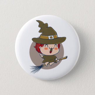 Button for Halloween with witch