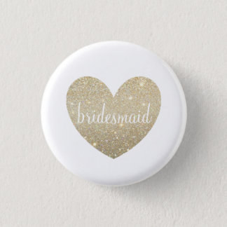 Button - Gold Heart Fab bridesmaid